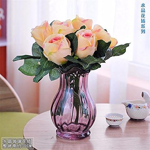 Beata.T Künstliche Blumen Set Tabelle Glas Blumenvase Garten Artverzierungen Wohnzimmer Wohnraumausstattung, G