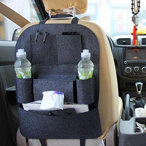 sitz Schutz Rückenlehnenschutz AutoSeat Multi Pocket Reisetasche KleiderbügelStyling Zurück Autositzbezug Organizer Halter Rücksitz, tiefgrau ()