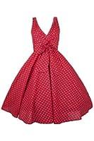 New Ladies Kushi Swing Mid Tie Vintage Retro Polka Dot 50s WW2 Rockabilly Party Prom Dress - Plus Size 16 18 20 22 24