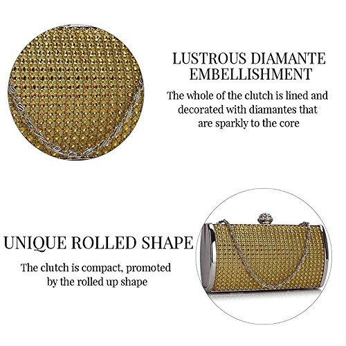 Trendstar Designer Donna Scintillante In Cristallo Da Sera Rigido Con Pochette Da Donna Prom Party Borsa Oro