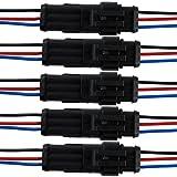 Qiorange 5Pcs 3 Polig Kabel Steckverbinder Stecker Wasserdicht Schnellverbinder KFZ LKW Auto