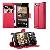 Cadorabo DE-103172 Huawei Ascend G6 Handyhülle mit Kartenfach und Standfunktion Rot