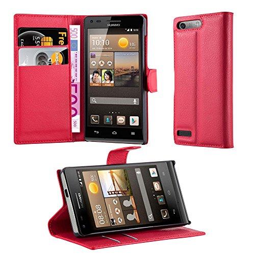 Cadorabo Hülle für Huawei G6 Hülle in Karmin Rot Handyhülle mit Kartenfach und Standfunktion Case Cover Schutzhülle Etui Tasche Book Klapp Style Karmin-Rot
