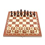 Classico Scacchi, Dama Backgammon, con Confezione Portatile e Pieghevole in Legno, 34 cm x 34 cm, il Regalo Divertimento per Bambini Famiglia Amico