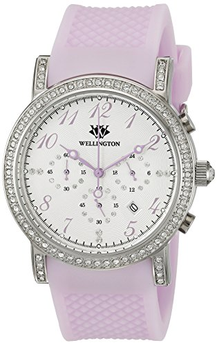 Wellington Amberley WN505-110A - Reloj analógico de cuarzo para mujer con correa de silicona, color morado