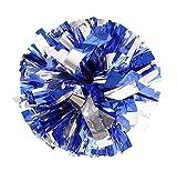 1 paire Cheerleading Pom Poms Party Costume Accessoire Ball, Argent + Bleu