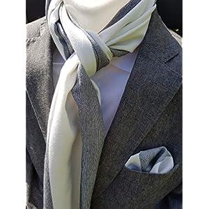 Exklusiver Herren Einstecktuch mit passendem Schal in Grau-Weiß gestreift