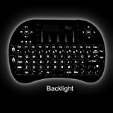 Rii i8+ 2.4Ghz LED Backlit Mini Wireless Keyboard With Touch Pad Mouse UK Layout With Built-in Rechargeable Battery Black KODI XBMC Raspberry Pi Android Box HTPC IPTV Remote Control