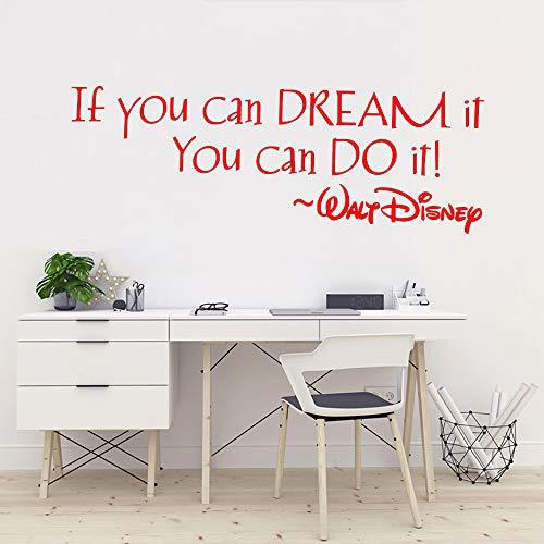 Zitat Wandaufkleber Kinderzimmer Dekor Wenn Sie es träumen können können Sie es tun Zitat Wandtattoo Kindergarten Vinyl Wandbild rot 57X21 CM