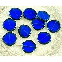 4pcs Picasso vetro Zaffiro Blu a righe Grande Piatto Rotondo 8Edge Finestra della Tabella di Taglio di Moneta ceca Perle di Vetro 15mm