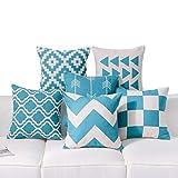 Dezene Copricuscinigeometrici, set di 6,decorativi, in cotone di lino, per divano, quadrati, 45,7x 45,7cm, cotone/lino, Teal, 6 Pieces