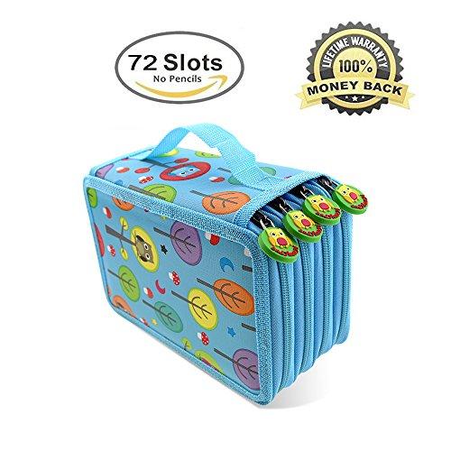 Borse Matita, Borsa morbida matita Moliker 72 slot Super grande capacità multi-strato di studenti matita colorata matita / Roll sacchetto / Ufficio Scolastico arte per l'arte Disegno (Azzurro) - Colorata Tessuto Blu