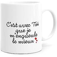 Mug Humour Amour Tasse Message drôle. Idée Cadeau Original Amis Couple Amoureux Collègue Frère Sœur Mari Femme Fiancés…