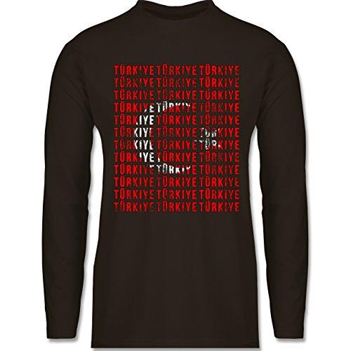 EM 2016 - Frankreich - Türkiye Vintage Typo - Longsleeve / langärmeliges T-Shirt für Herren Braun
