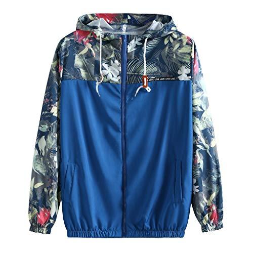 LILIGOD Frauen Kapuzenjacken Lässige Windjacke mit Nähten für Damen Drucken Lightweight Jacke Sweatshirt Mode Reißverschluss Jacken Kapuzenjacke Hoodie Herbst-und Wintermantel Mäntel -