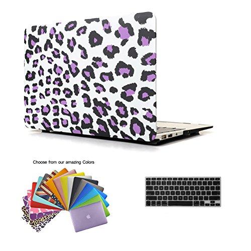 Macbook Air 11 Hülle Case Tastaturschutzfolie kit, TECOOL [Ultra Dünn Serien] Notebook Hartplastik Hartschale Schutzhülle Case für Apple MacBook Air 11.6 Zoll Modell: A1370 und A1465 mit Muster Leopard in lila