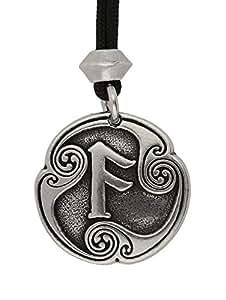 Fait à la Main Viking nordique Ansuz Rune de la communication quatrième runique Lettre Pendentif en étain (sur cordon noir)