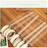 EQLEF® 10 Rollo Craft adhesiva en cinta blanca del cordón de la cinta de Deco de la cinta engomada transparente