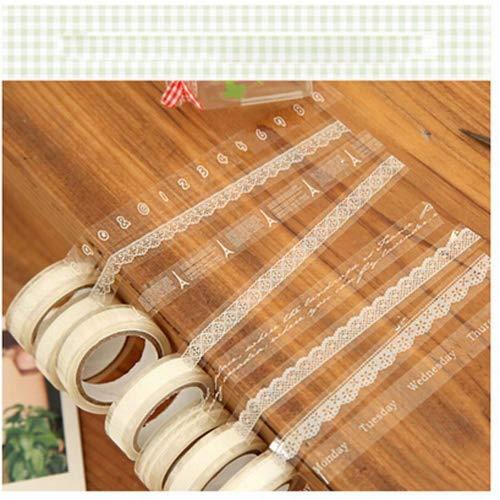 Eqlef® 10 rullo del mestiere adesivo nastro- pizzo bianco trasparente deco nastro adesivo tape