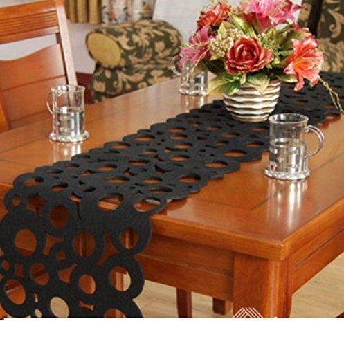Mode einfach pastorale Filz Tischläufer Blume Untersetzer Maple Leaf Chinese Restaurant lange Tafel Mat Coffee Table dekorative Tischläufer-C 30x150cm(12x59inch)