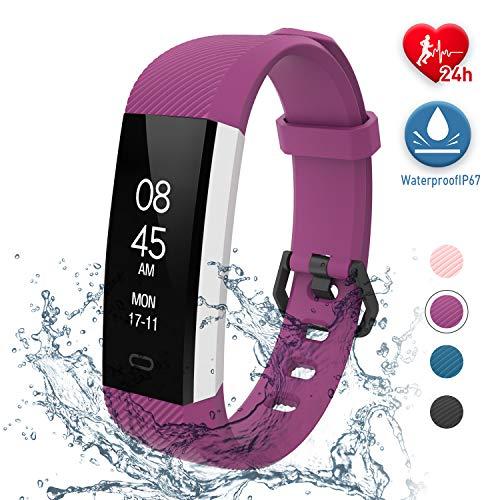 fitpolo Fitness Uhr Wasserdicht Fit Uhr mit Pulsmesser Aktivitäts-Tracker Fitness Armband, Schrittzähler Uhr, Smart Watch für Kinder Herren Damen(Violett)