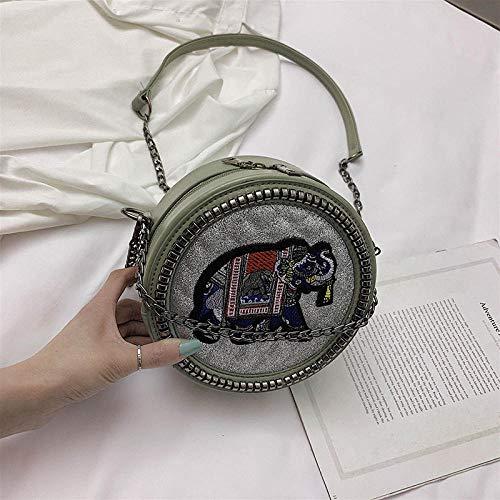 Fyyzg Runde Diagonale Cross Bag kleinen Elefanten Bestickt Umhängetasche Mode koreanische Version helles Gesicht PU weiblichen Beutel - grün