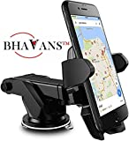 #10: Bhavans Premium Car Mobile Holder With Quick One Touch Technology For Dashboard and Windshield (4th Generation, Black)