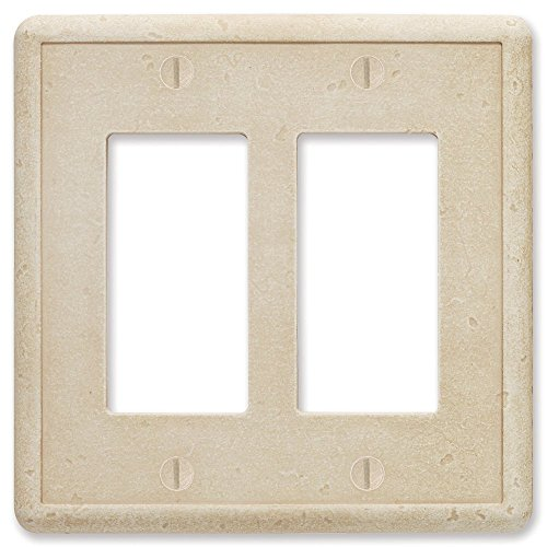 Double Switch Wall Plate (questech Travertin Trommelstein Strukturierte-/Switch Plate/Auslass, Double Decorator GFCI)