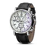 YAZOLE Luxuxoberseiten cuero reloj de la marca Moda esfera blanca de tres a seis donar Reloj de...