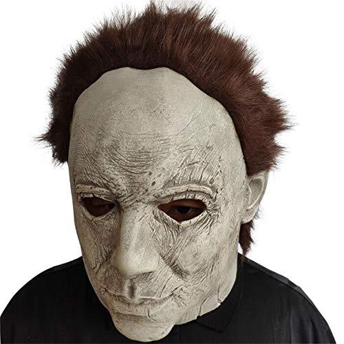 YWJ Halloween Horror Maske Movie Killer Maske Weiß Erwachsene Vollkopf Latex Maske Cosplay Kostüm Requisiten Spielzeug,2