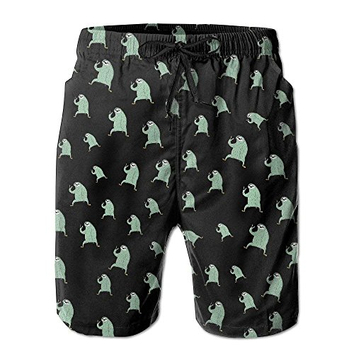 Funny Sloth Cute Summer Casual Quick-Dry Cargo Shorts Swim Trunks Drawstring Striped Side Pockets XX-Large -
