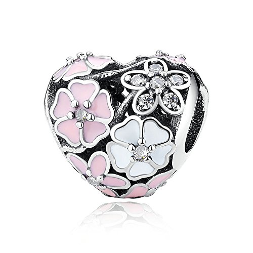 Poetic Blooms With Enamel And Clear CZ 925 Sterling Silver Bead Fits Pandora Charm Bracelet