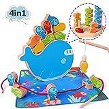 Gioco di Pesca Magnetica in Legno 4 in 1 Gioco di accatastamento Montessori e Giochi per selezionatori in Rilievo Regali di Natale di Compleanno per 1 2 3+ Anni Ragazzo Ragazza Bambino