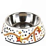 Pet harem- Anti-Rutsch-Edelstahl Hund Schüssel Hund Schüssel Haustier liefert Teddy Essen Aufkleber Hund Schüssel ( Farbe : Gold chain , größe : L )