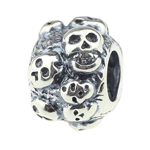 Beads Hunter in argento Sterling 925Charm Teschio il punk rock vento Pandora, Biagi, Troll, Chamilia cavo bracciale serpente, argento, colore: Skull Bead, cod. YCSSB229