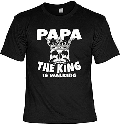 Fun-Shirt/lustigeSprüche/Papa-Spaß-Shirt/Väter-Shirt: Papa The King is walking geniales Geschenk/Vatertag Schwarz