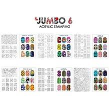 CiCi y Sisi Nail Art Stamping Image Placas Collection Set Jumbo 6 - Juego de 6 JUMBO Nail Art Polaco Stamping Manicura imagen Placas Accesorios Kit (total de 216 imágenes) todos los nuevos diseños