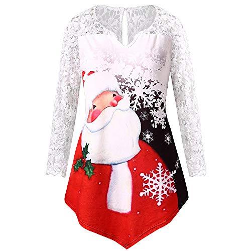 Aufblasbares Weihnachtsbaum Kostüm - OverDose Damen Frauen Weihnachten Stitching Long Lace Sleeve Printed O-Ausschnitt Weihnachtsmann Cosplay Slim Party Clubbing T-Shirt Tops Bluse Tuniken