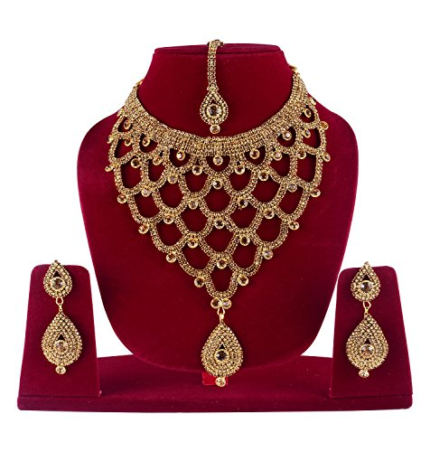 BAAL Gold-Plated Necklace Set With Earrings & Maang Tikka Jewellery Set For...