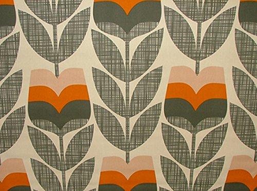 Orla Kiely Vorhang-Stoff mit orangem Rosenknospen-Motiv, Meterware