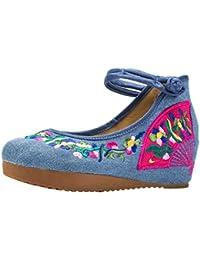 ezshe Mujer Flores bordado Suela de plataforma Oxfords Casual zapatos de Party Dress