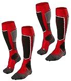 FALKE Herren SK2 Skisocken Skistrümpfe Advanced Skiing 16522 2 Paar, Farbe:Rot;Sockengröße:42-43;Artikel:16522-8000 lipstick