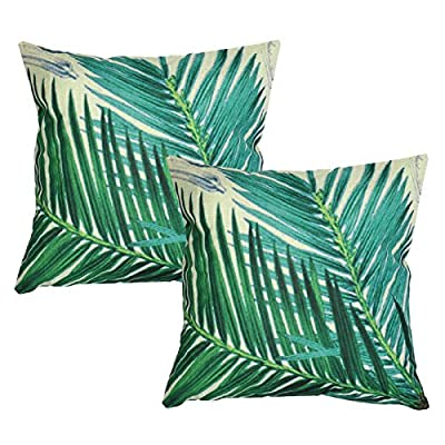 Luxbon-Sago Cycas Leaf Outdoor Set Cushion Cover Durable Cotton Linen Throw Pillow Case Home Decors 18X18 inch 45x45cm - inexpensive UK light shop.