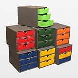 3 Stück kleine Schubladenboxen mit je 3 Schubladen aus Karton DIN A6 blau