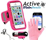 Navitech Custodia Bracciale Rosa in Neoprene Resistente all'Acqua & Guanto Capacitivo Rosa per iPhone 5 / 5c / 5s