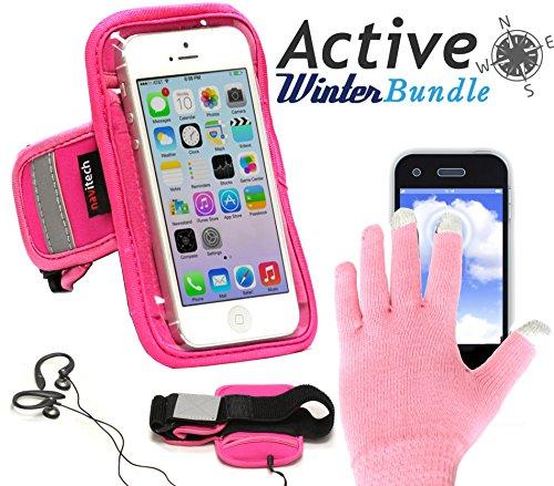 Pink Sport / Fitness / Jogging / Radfahren / Skifahren Armband Tasche Oberarmtasche Schutz Hülle Etui Case mit rosaroten Touchscreen Handschuhen für das Nokia Lumia 1020 / 635 / 625 ()