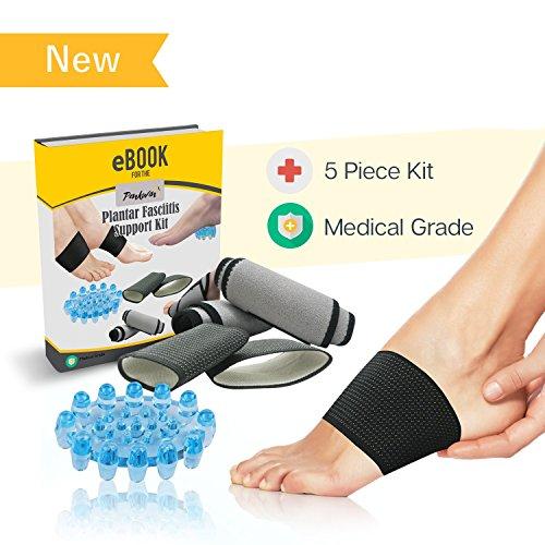 Deep Relief Gel (Penkwin® | 5 Stück | Arch Kompression Behandlung Kit | ideal für Plantarfasziitis Arch Schmerzen | 4 Kompression unterstützt + Deep Tissue Massagegerät)