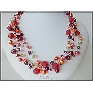 Perlenkette mehrreihig multicolor erdbeer und bordeaux