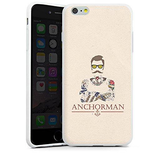 Apple iPhone 6 Plus Silikon Hülle Case Schutzhülle Schnurrbart Anchorman Tattoo Anker Silikon Case weiß
