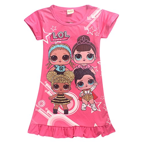 Dgfstm Comfy Loose Fit Pajamas Girls Printed Princess Dress Sleepwear Nightgown